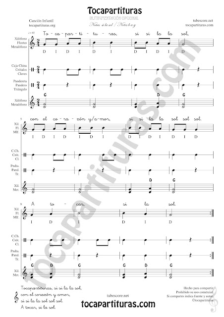Tocapartituras Infantil Partitura de Pequeña Percusión y Flauta. Metalófono o Xilófono, Carrillón, Caja China, Crótalos, Claves, Pandereta, Panderos, Triángulo... con Acordes de Acompañamiento y letra Easy Sheet Music for Xylophone, Flute & Recorder, Tambourine, Crotales, Triangle, Antique cymbals, Wood blocks, Maraca and Percussions Instruments