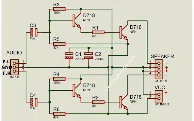 200W Powerful Stereo Bass Amplifier with D718 Transistor Circuit Diagram.