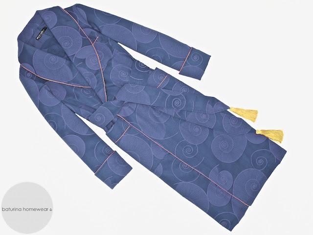mens vintage dressing gown cotton robe dark blue gold smoking jacket full length extra long