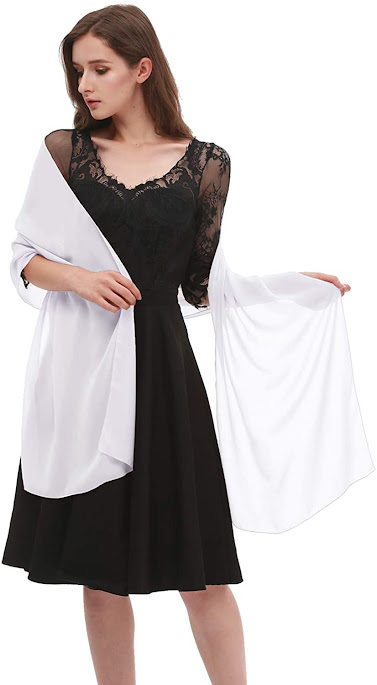 Long White Chiffon Scarf for Evening Dresses