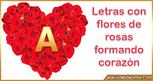 Imágenes corazón de rosas con letras