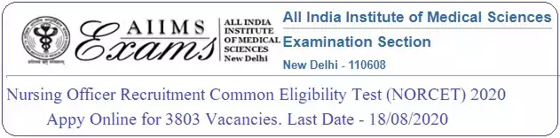 NORCET 2020 for AIIMS