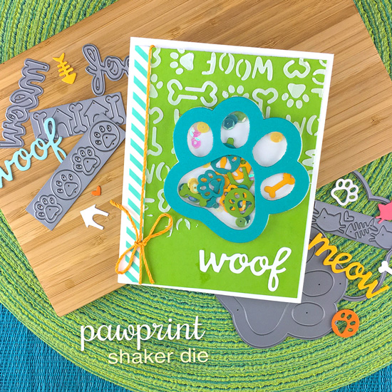 Pawprint Shaker Card by Jennifer Jackson | Pawprint Shaker Die Set, Say Woof Stamp Set & Woof Stencil by Newton's Nook Designs #newtonsnook #handmade