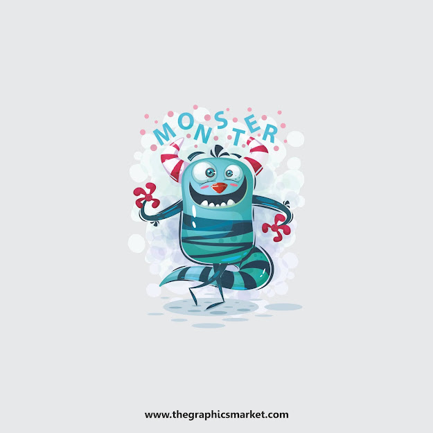 Monster Illustration Vector, thegraphicsmarket, the graphics market,