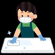 テーブルを消毒する店員のイラスト(女性)