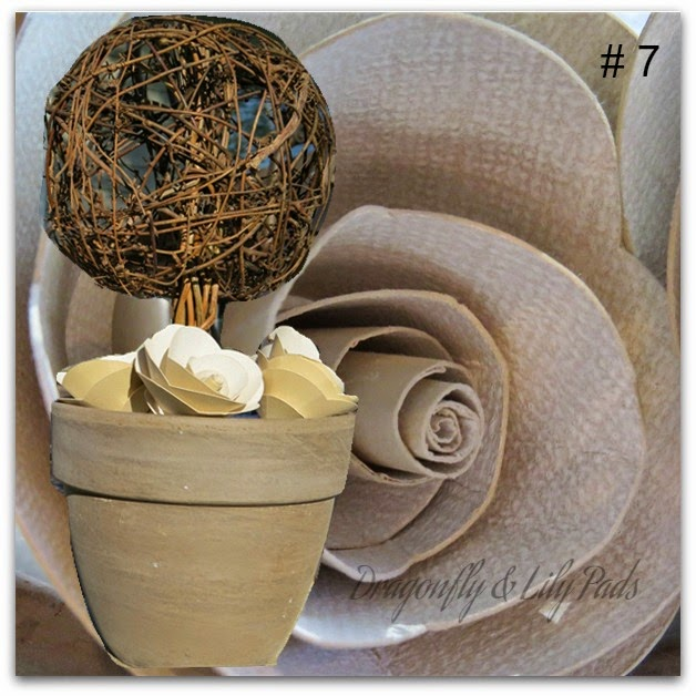 Twig and Paper Rose Topiary, Silhouette Cameo, Scrapbook Paper, Terracotta  Pot,