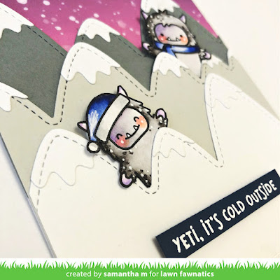 Yeti It's Cold Outside Card by Samantha Mann for Lawn Fawnatics Challenge, Lawn Fawn, Christmas, Christmas Card, Distress Oxide Inks, Ink Blending, Cards, #lawnfawn #distressoxide #inkblending #distressink #christmascard #christmas #yeti #cardmaking