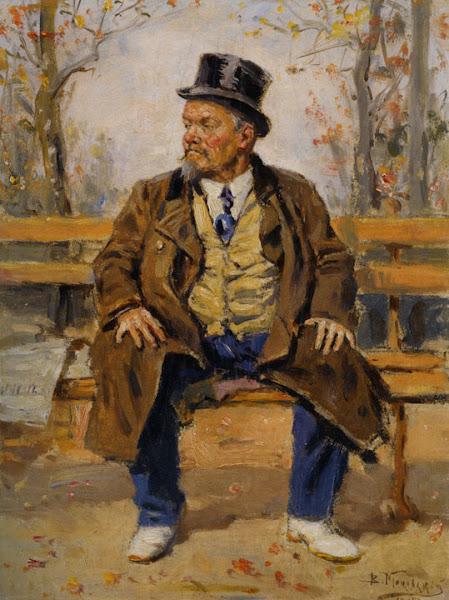 Маковский Владимир Егорович - Портрет мужчины, сидящего на скамейке в парке. 1917