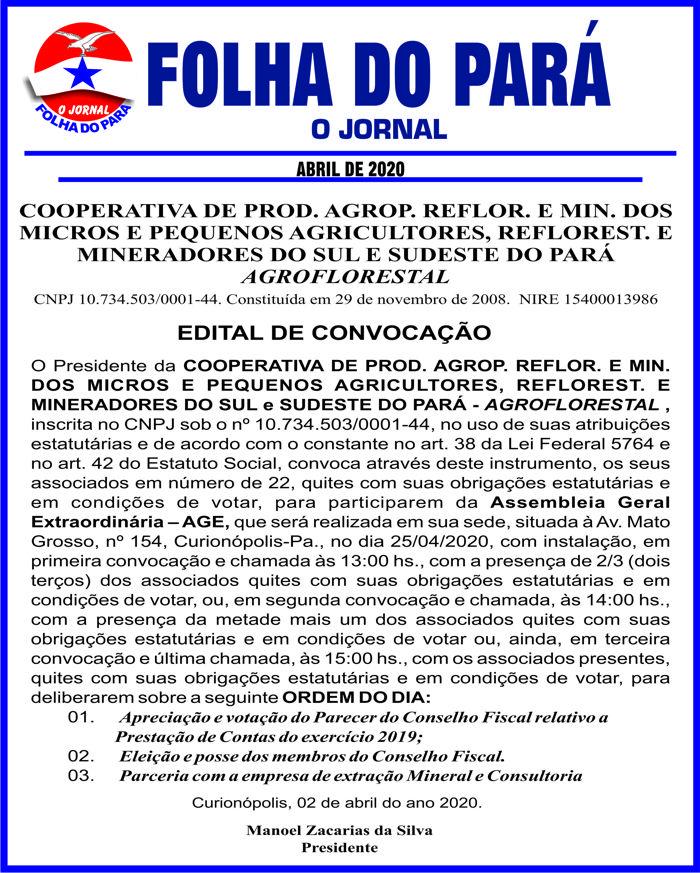 EDITAL DE CONVOCAÇÃO -- COOPERATIVA DE PROD. AGROP. SUL E SUD DO PARÁ