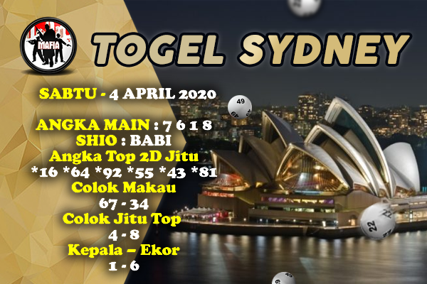 Syair Sidney Sabtu 04 April 2020 - Prediksi Mafia