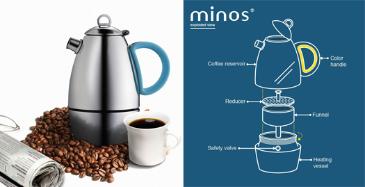 Minos Moka Pot Espresso Maker Elegant Coffee Brewing Batch 4