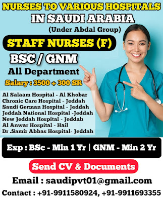 Urgently Required Staff Nurses to Various Hospitals In Saudi Arabia