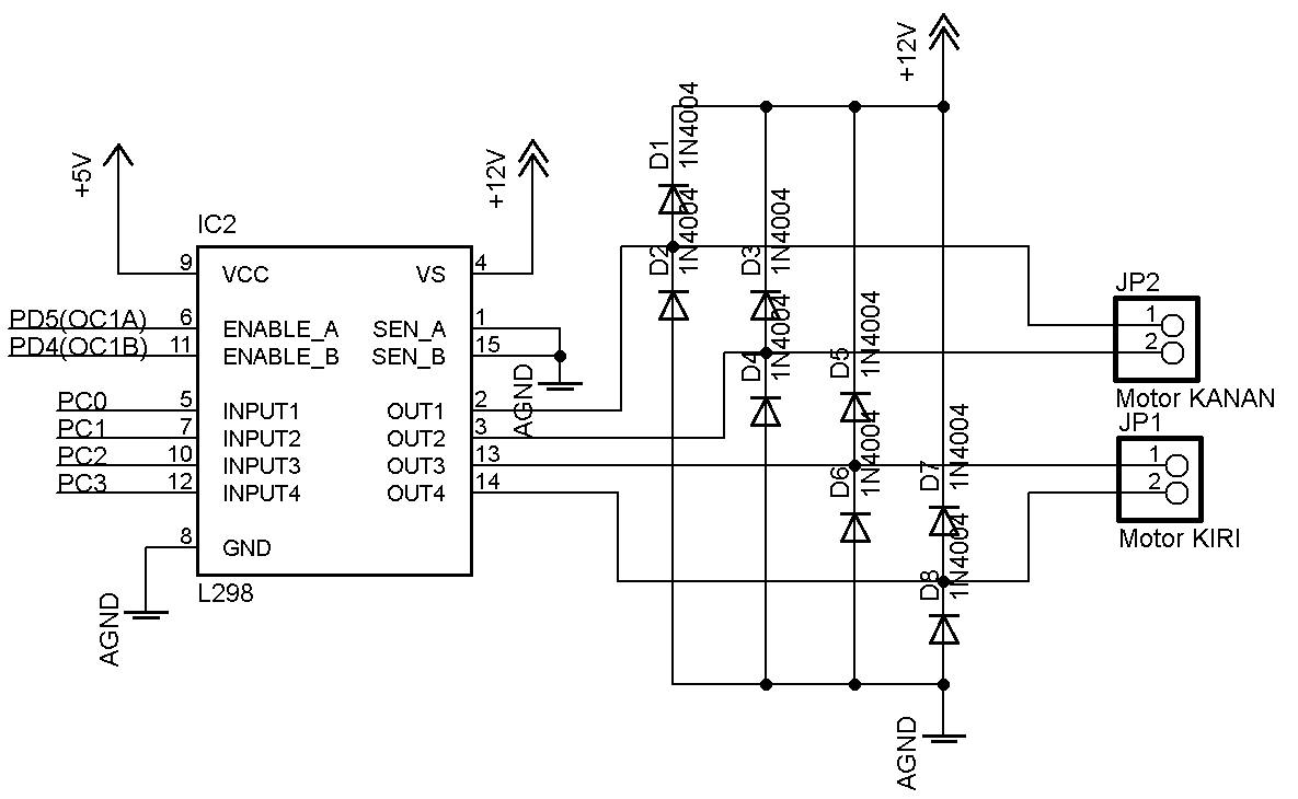 dc motor controller circuit using l298 to control a single motor