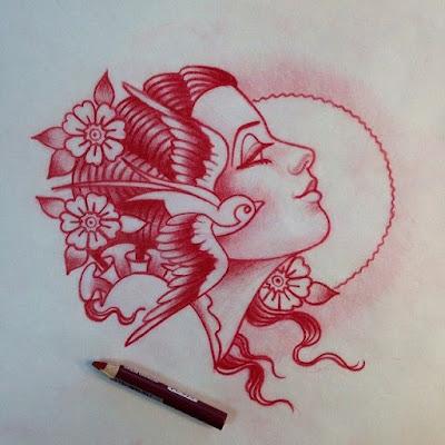 Women face Tattoo design