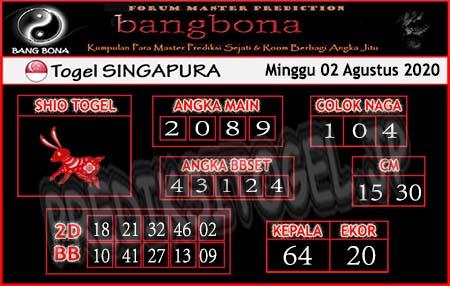 Prediksi Togel Bangbona Singapura Minggu 02 Agustus 2020