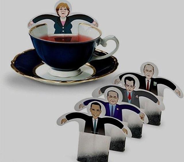 embalagem criativa de chá com presidentes