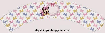 Wrappers para cupcakes de Minnie Bebé.