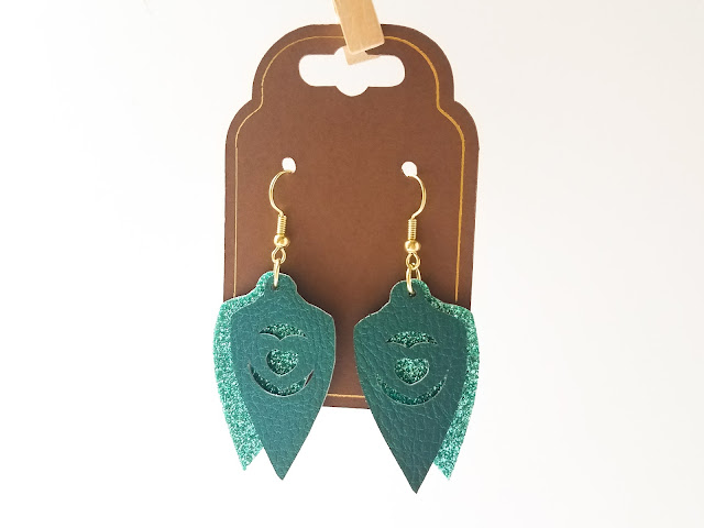 glitter htv, faux leather earrings, cricut mini press, earrings, heat tape