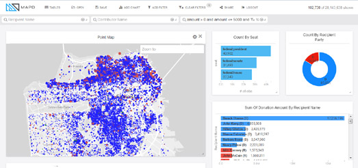 The Mapd Political Donations Map Visualizes 25 Years Worth Of Political Donations Data On A Mapbox Gl Powered Interactive Map Using The Map You Can Explore