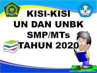 kisi-kisi un dan unbk tingkat smp dan mts 2020