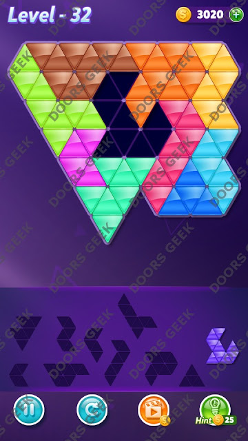 Block! Triangle Puzzle Master Level 32 Solution, Cheats, Walkthrough for Android, iPhone, iPad and iPod
