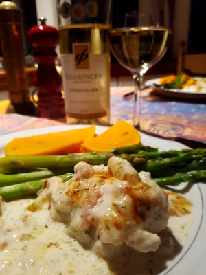 Rock Cod With Parmigiano and Shrimp Topping