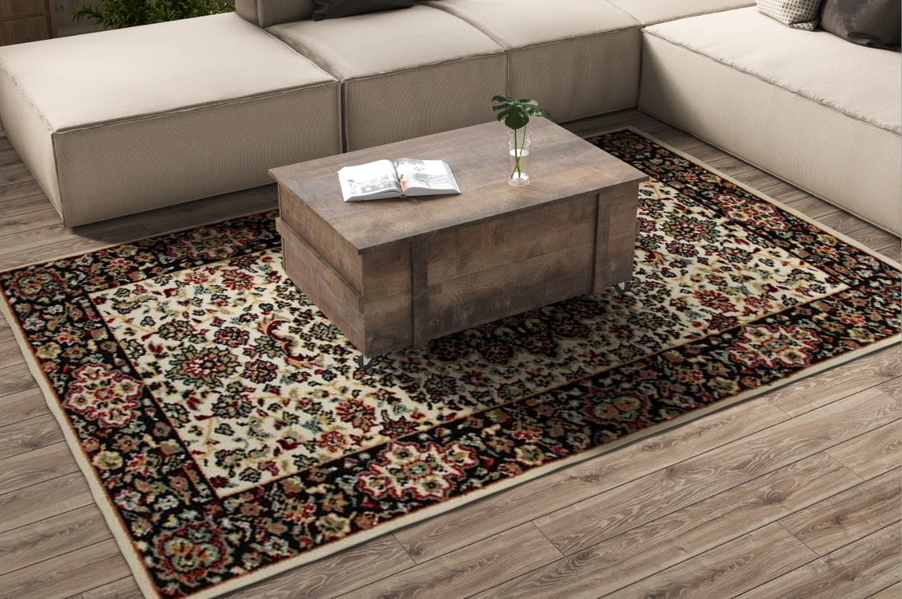 A mock up to professionally display carpets, 2 distinct designs