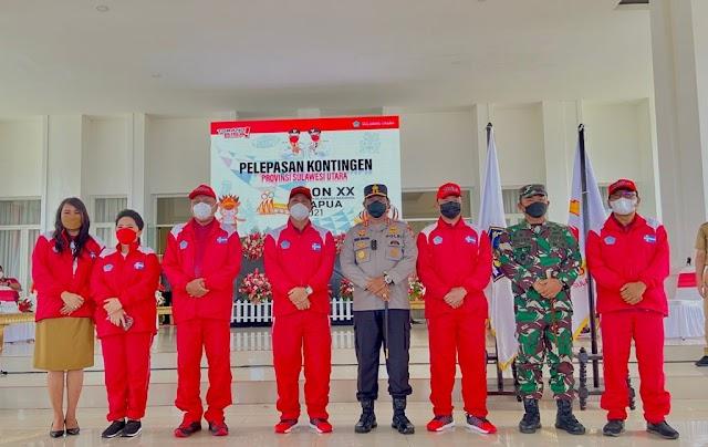 Gubernur Sulut Lepas Kontingen PON, Danlanud Sam Ratulangi selaku Ketua Kontingen Sulut pada PON XX Papua
