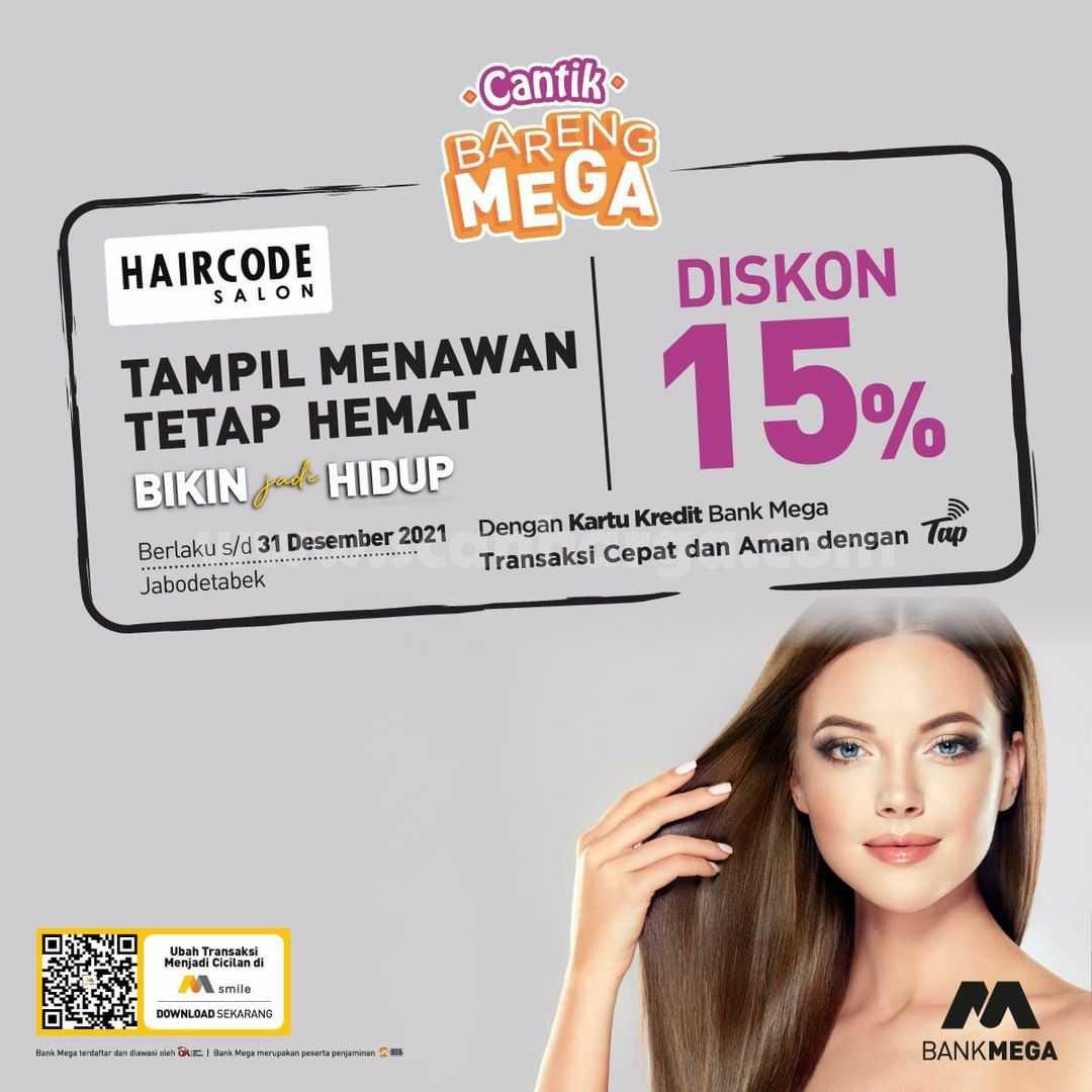 Promo HAIRCODE SALON Diskon 15% dengan Kartu Kredit Bank Mega