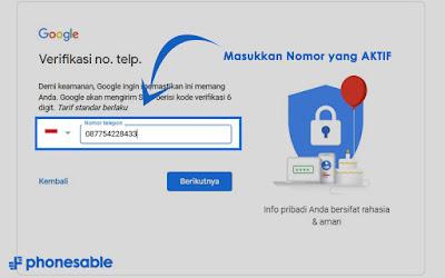 cara membuat email google dengan nomor hp