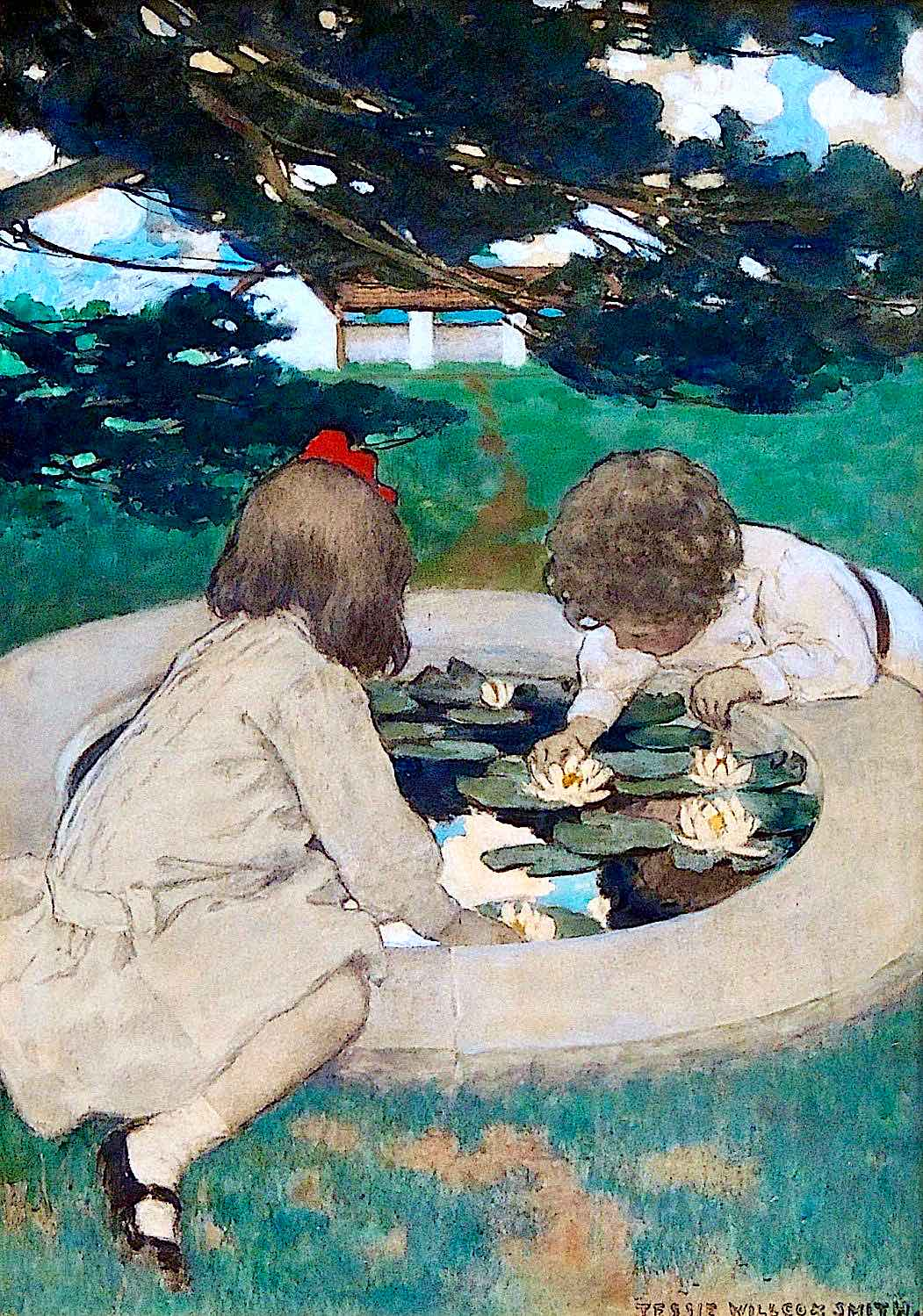 Jessie Wilcox Smith, two children playing with a small lilly pond