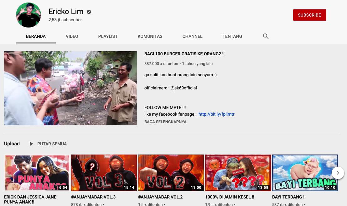 Youtuber Ericko Lim alias Soapking Gaming Kaya