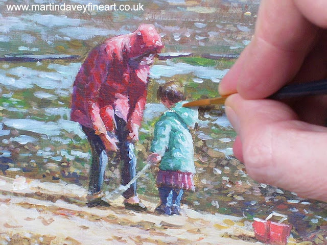 family on seaside winter work in progress acrylic painting