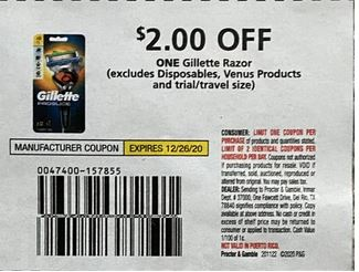 "$2.00/1-Gillette Razor Coupon from ""P&G"" insert week of 11/22/20."