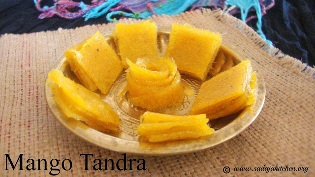 images of  Mamidi Tandra Recipe / Mango Tandra Recipe / Mavidi Tandra Mango Jelly Recipe / Aam Papad Recipe / Mango Fruit Leather - Dried Mango Pulp Recipe