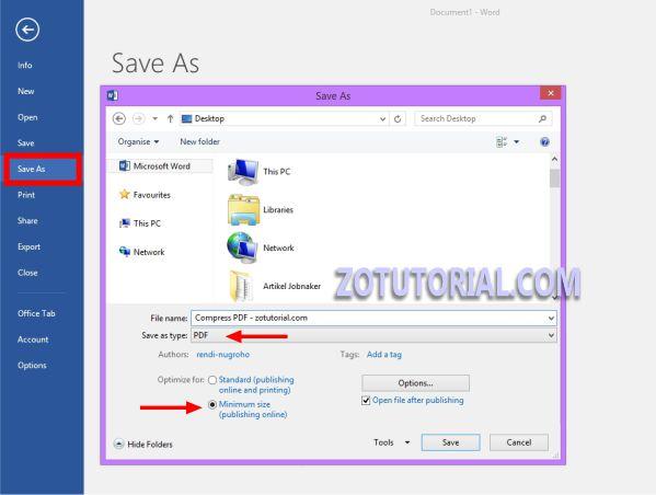 Mengecilkan PDF Lewat Microsof Word - zotutorial.com