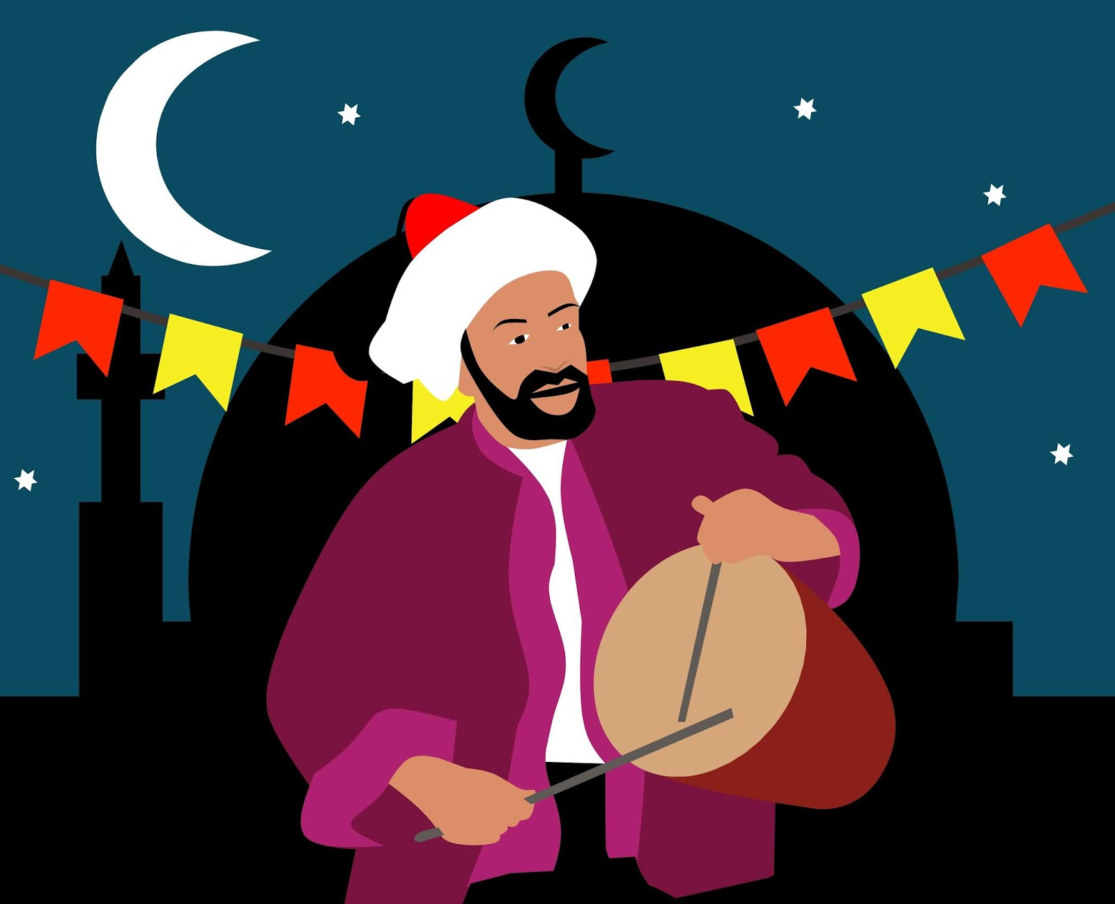 illustrations of Ramadan Drummer ( mesaharaty )