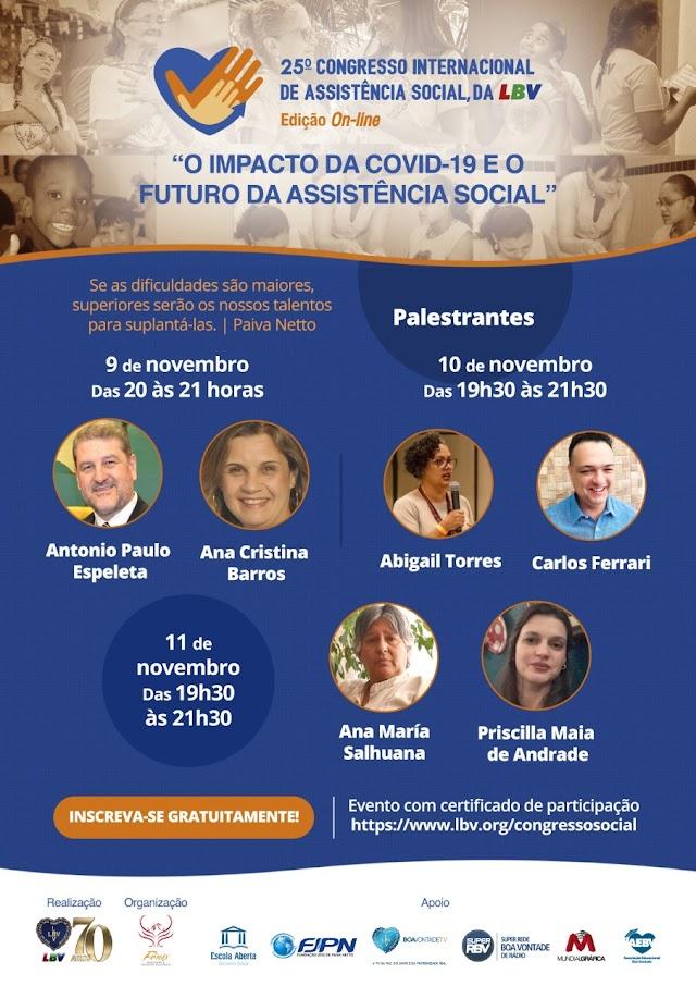 """Congresso da LBV discutirá """"O impacto da Covid-19 e o futuro da Assistência Social"""""""