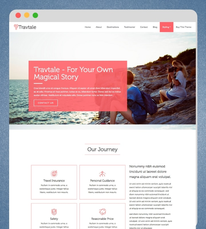 Travtale (One-page Travel WordPress Theme)