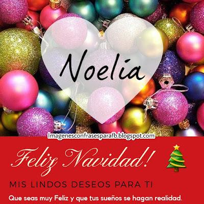 Tarjeta personalizada para Navidad con el nombre Noelia