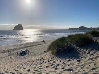 Pacific City beach dunes and Haystack Rock.