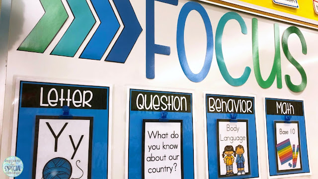 """""""Focus"""" written in large letters on a white board, 4 posters underneath  listing objectives for: letter, essential question, behavior, and math"""