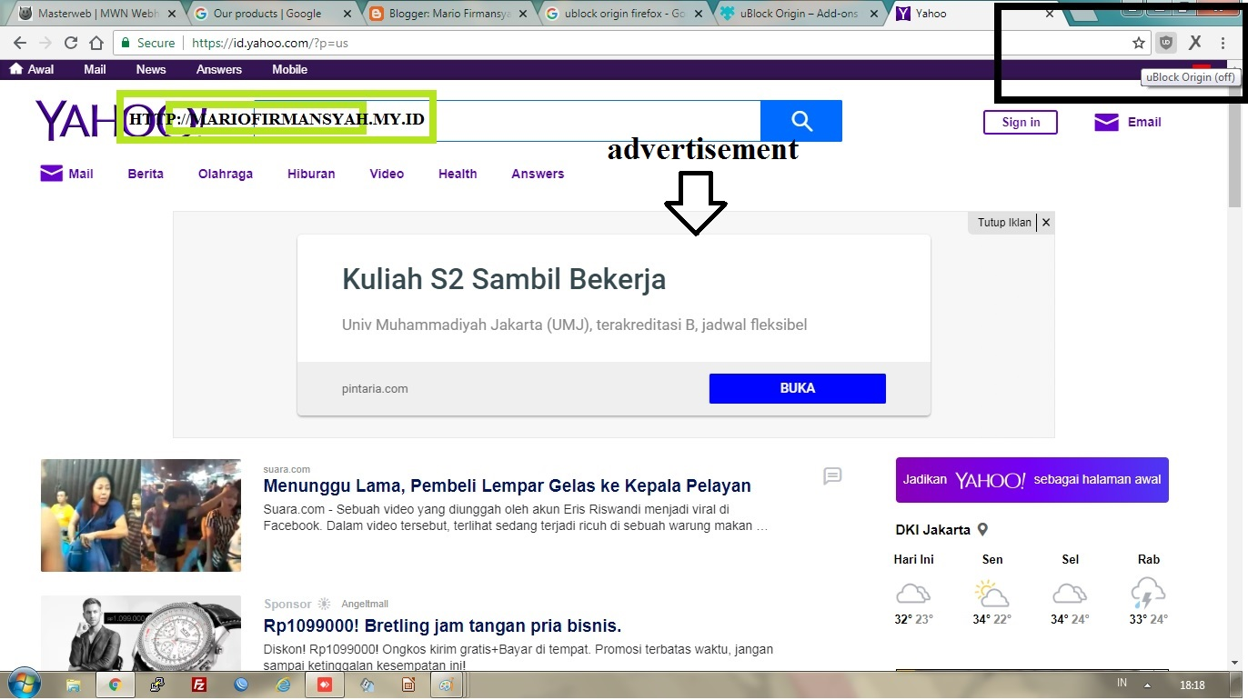Block Ads on Website use Web Browser Google Chrome or