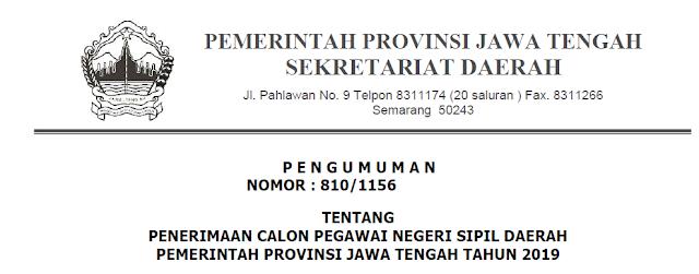Formasi CPNS Jawa Tengah  2019