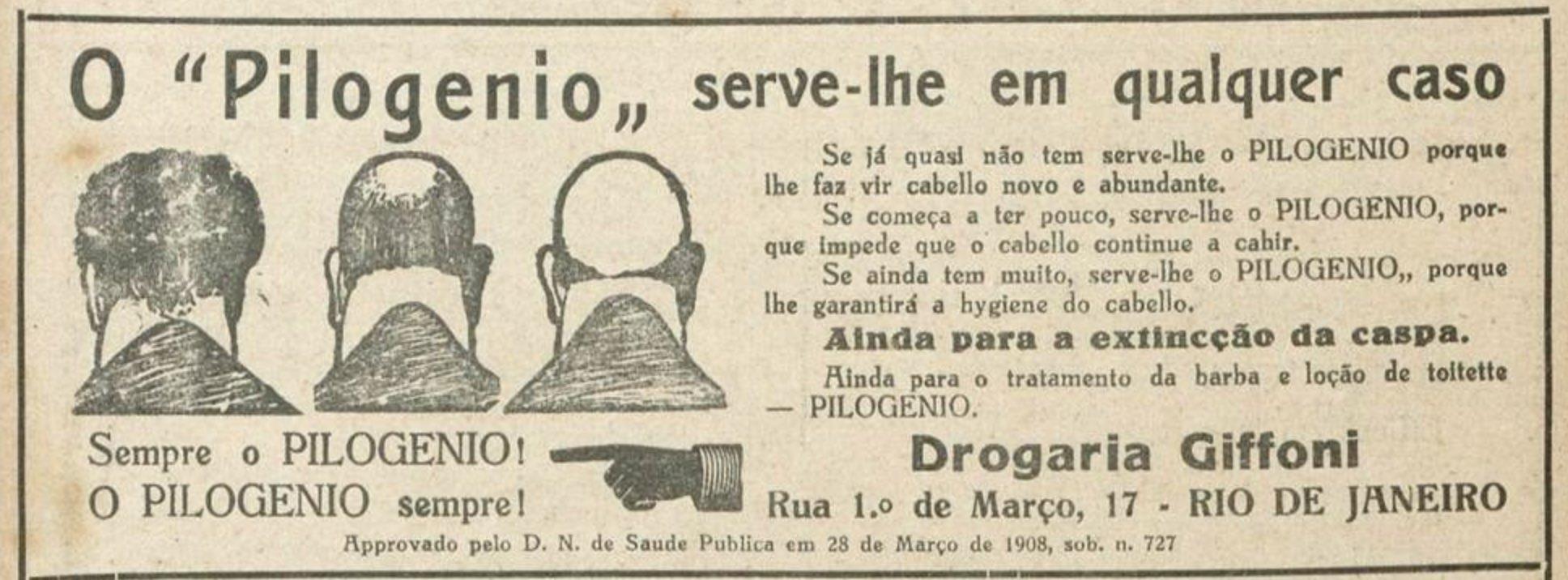 Propaganda antiga do tônico capilar Pilogênio em 1925