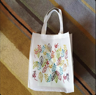 Stamped botanical Grocery Tote