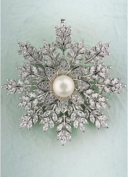 Pearl Snowflake Brooch- $19.99 USD