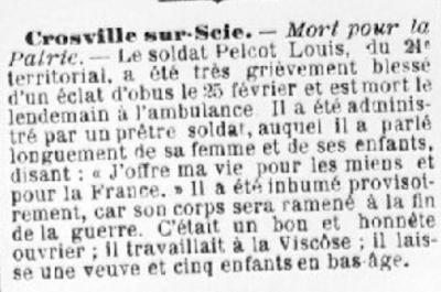Mort de Louis Frédéric Pelcot