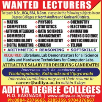 Aditya AP Microbiology/Biochemistry/Biotech Faculty Jobs 2021