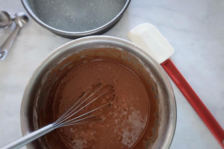 chocolate cake batter mixed